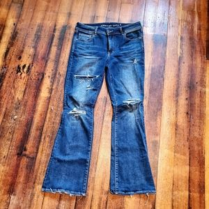 """American Eagle """"kick boot"""" distressed jeans."""